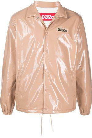 032c Embroidered logo shirt jacket - Neutrals