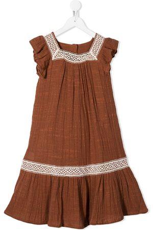 The New Society Crochet-trimmed midi dress