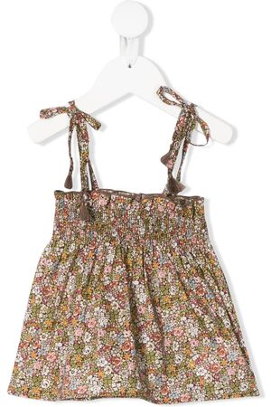 The New Society Emma smocked floral-print top