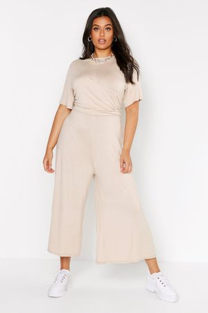 Boohoo Womens Plus Twist Detail Cap Sleeve Culotte Jumpsuit - - 12