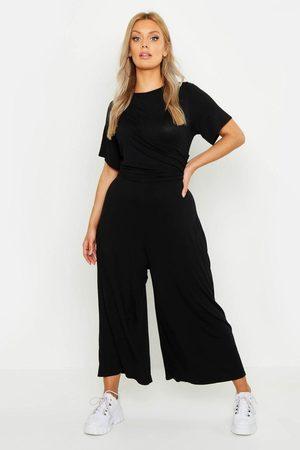 Boohoo Womens Plus Twist Detail Cap Sleeve Culotte Jumpsuit - - 12