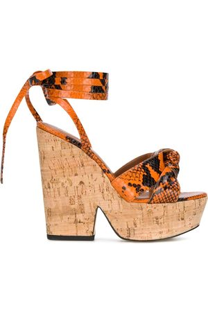PARIS TEXAS Snake print 140mm sandals
