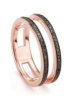 Monica Vinader Rose Gold Skinny Double Band Ring Black Diamond