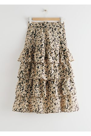 & OTHER STORIES Belted Floral Ruffle Midi Skirt