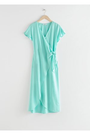 & OTHER STORIES Lyocell Blend Wrap Midi Dress - Turquoise