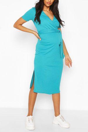 Boohoo Womens Maternity Ribbed Tie Dress - - 4