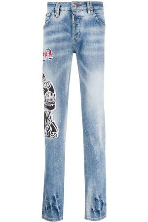 Philipp Plein Denim embroidered dog jeans