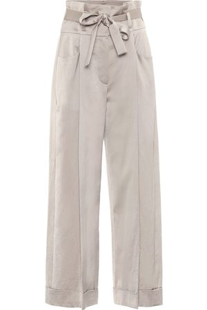 Brunello Cucinelli Exclusive to Mytheresa – Cotton-blend satin wide-leg pants