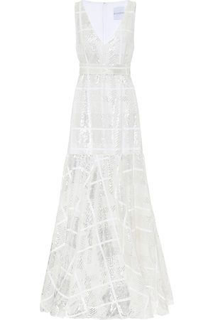 HALPERN Sequined checked gown