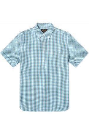Beams Men Short sleeves - Short Sleeve Popover Indigo Seersucker Shirt