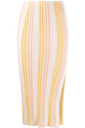 MARCO DE VINCENZO Front slit knitted skirt - Neutrals