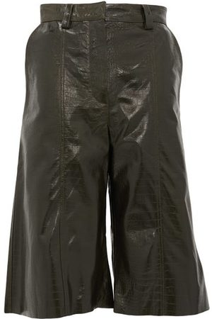 DODO BAR OR Ivgeniya Crocodile-effect Leather Culottes - Womens - Dark