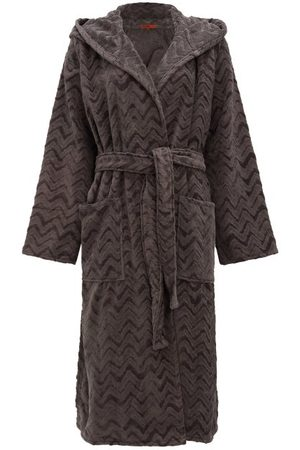 Missoni Rex Zigzag Hooded Cotton-terry Bathrobe - Womens - Dark Grey