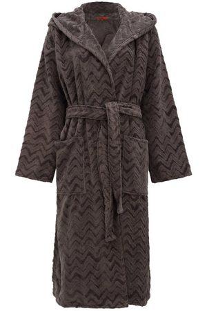 Missoni Women Bathrobes - Rex Zigzag Hooded Cotton-terry Bathrobe - Womens - Dark Grey