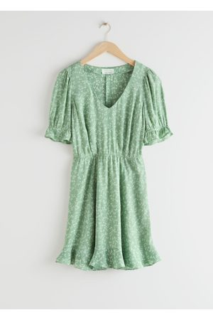 & OTHER STORIES V-Neck Puff Sleeve Mini Dress
