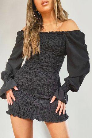 Boohoo Womens Petite Volume Sleeve Shirred Mini Dress - - 2