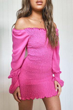 Boohoo Womens Petite Volume Sleeve Shirred Mini Dress - - 4