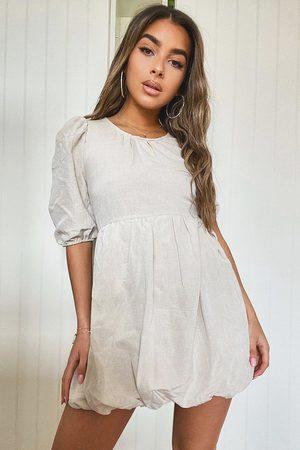 Boohoo Womens Petite Linen Look Puffball Mini Dress - - 2