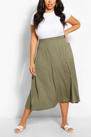 Boohoo Women Midi Skirts - Womens Plus Woven Full Circle Midi Skirt - - 12