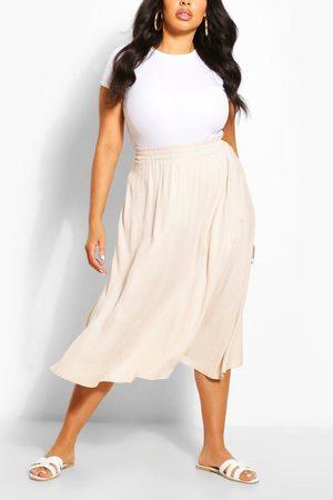 Boohoo Womens Plus Woven Full Circle Midi Skirt - - 12