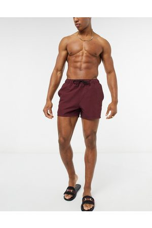 ASOS Men Swim Shorts - Swim shorts in burgundy short length