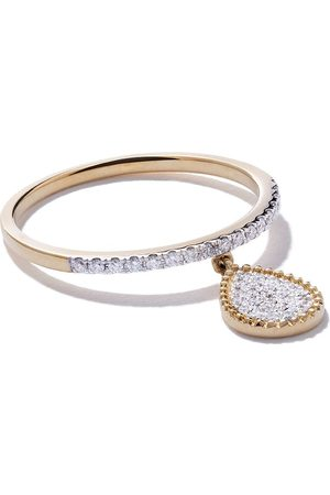AS29 18kt yellow Mye pear beading pave diamond ring