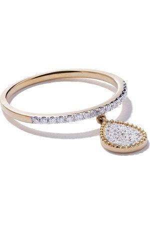AS29 Women Rings - 18kt yellow Mye pear beading pave diamond ring