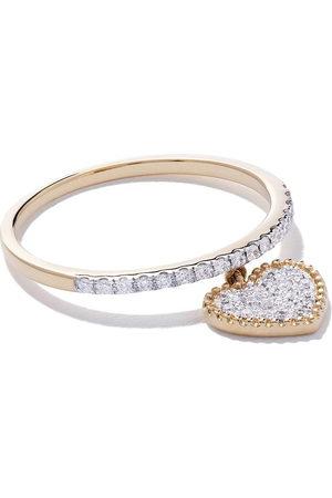 AS29 Women Rings - 18kt yellow Mye heart beading pave diamond ring
