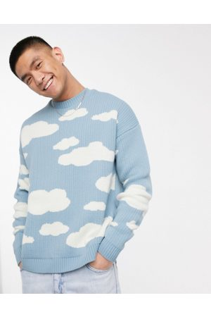 ASOS DESIGN Oversized knitted sweater with cloud design