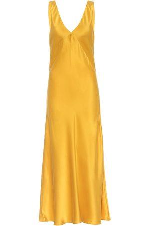 ASCENO The Bordeux silk-satin midi dress