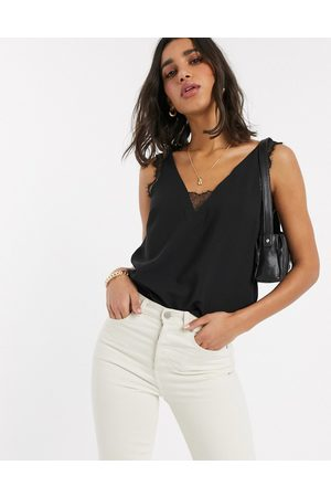 ASOS Deep Plunge Lace Insert Camisole Tank in