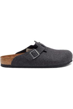 Birkenstock Men Sandals - Boston Buckled Wool-felt Sandals - Mens - Grey