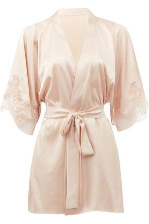 Fleur of England Women Bathrobes - Signature Lace-trimmed Silk-blend Satin Robe - Womens - Light