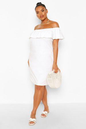Boohoo Womens Plus Off The Shoulder Ruffle Shift Dress - - 20