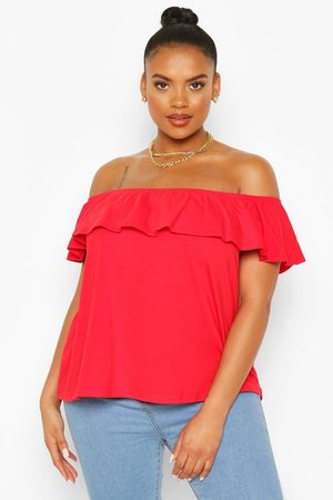 Boohoo Womens Plus Off The Shoulder Ruffle Top - - 12