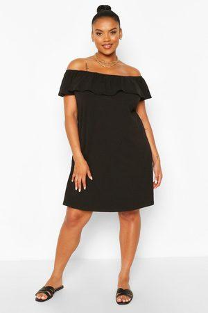 Boohoo Womens Plus Off The Shoulder Ruffle Shift Dress - - 12