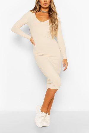 Boohoo Womens Long Sleeve V Neck Bodycon Dress - - 6