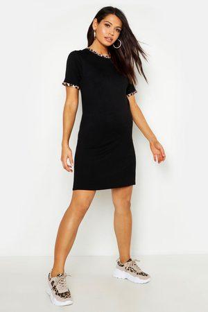 Boohoo Womens Maternity Leopard Ringer T-Shirt Dress - - 4