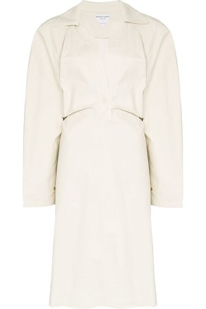 Bottega Veneta Storm-flap trench dress - NEUTRALS