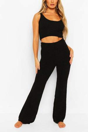Boohoo Womens Premium Fluffy Knit Crop And Trouser Lounge Set - - S