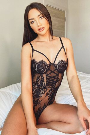 Boohoo Womens Lace Up Front Detail Eyelash Lace One Piece - - S