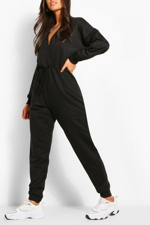 Boohoo Womens Wrap Over Loopback Sweat Jumpsuit - - 4