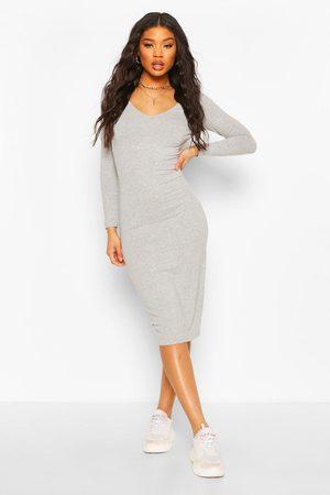 Boohoo Womens Long Sleeve V Neck Bodycon Dress - - 4