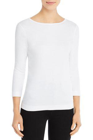 Three Dots Women T-shirts - Three-Quarter-Sleeve Cotton Tee