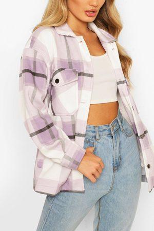 Boohoo Womens Tonal Flannel Trucker - - L