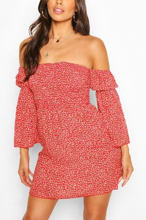 Boohoo Womens Petite Ditsy Floral Off The Shoulder Dress - - 2