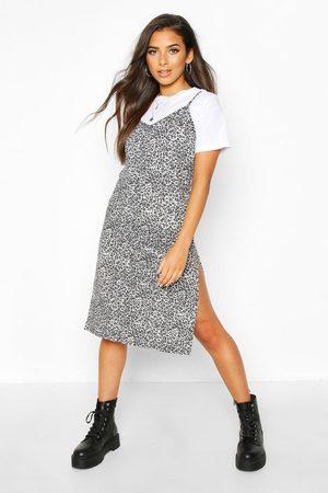 Boohoo Womens Leopard Print Slip Dress - - 2
