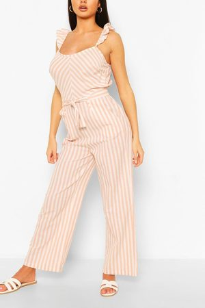 Boohoo Womens Linen Mix Stripe Ruffle Jumpsuit - - 4