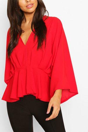 Boohoo Women Camisoles - Womens Woven Pleated Kimono Sleeve Top - - 6