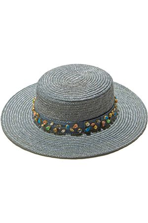 Lele Sadoughi Cloudy Sky Jeweled Wheat Straw Hat